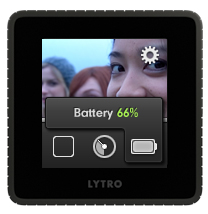 Lytro: Check the battery by swiping up and tapping on the battery symbol (photo: Lytro)