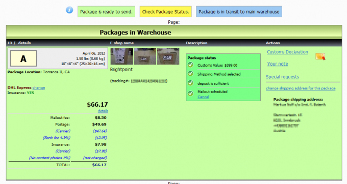 Shipito overview: Packages in Warehouse