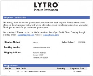 Lytro is shipping the next batch of cameras