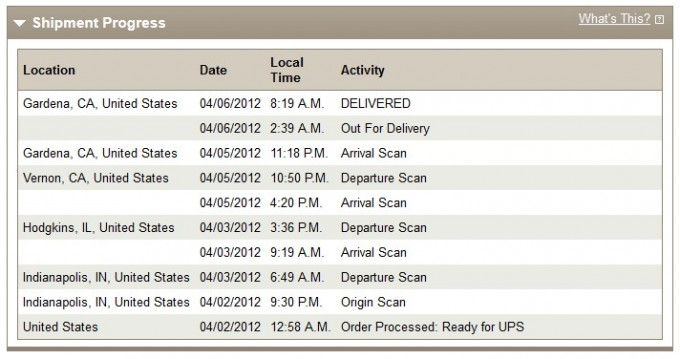 UPS Ground - Tracking my Lytro shipment online