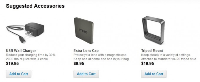 Screenshot: Lytro accessories: Fast charger, lens cap and tripod mount now available for order