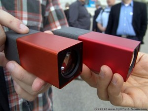 The Limited Edition Lytro camera: Orange, with a brushed metal finish (right: the Red Hot model)