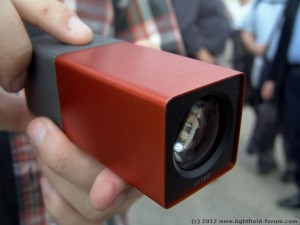The Limited Edition Lytro camera: Orange, with a brushed metal finish.