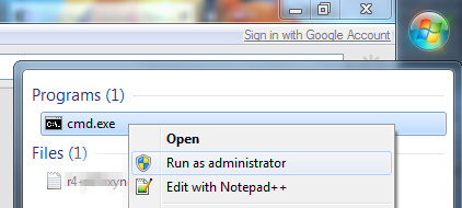 "Open the Windows Start menu, type ""cmd"", then right click cmd.exe and choose ""Run as administrator""."