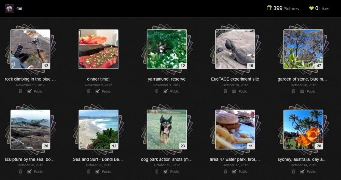 Screenshot: the new look & feel of the lytro user web galleries