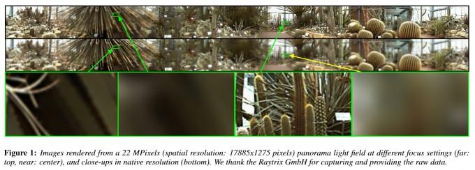 Methode zum Erzeugen von Panorama LichtFeld Bildern: Gerenderte 22 Megapixel Bilder aus einem LichtFeld Panorama (Bild: Birklbauer und Bimber 2012)