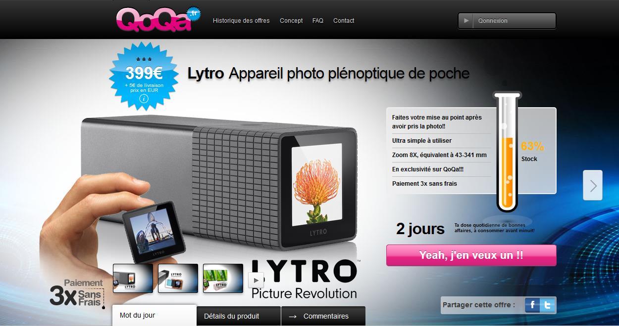 Lytro International: QoQa brings LightField Camera to France, Belgium in Weekend Offer