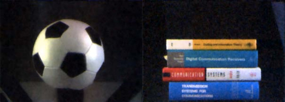 Sample pictures: Compressive Sensing Camera output, recorded at 1/4 (books) and 1/8 (football) of total resolution (picture via: Technology Review)