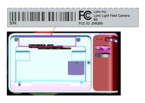 Lytro-Diagramm mit der ursprünglichen Position des FCC-Aufklebers auf der Kamera (Screenshot von fcc.gov)