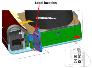 Lytro diagram showing the updated FCC label location on the camera (Screenshot from fcc.gov)