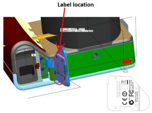 -Diagramm mit der neuen Position des FCC-Aufklebers auf der Kamera (Screenshot von fcc.gov)