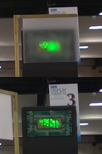 Ostendo's Quantum Photonic Imager Chips produce real 3D images with depth (top: resulting image with diffuser, bottom: actual QPI array; Youtube Screenshot via InsightMediaTV1)