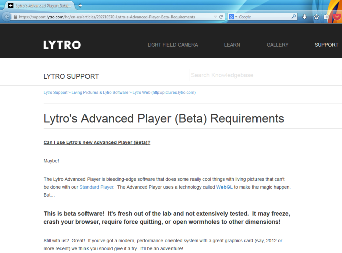 Lytro Prepares Launch of Advanced WebGL Player (Beta) in Lytro Web (screenshot taken on 2014-07-18)