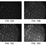 Fig. 10 from the patent application shows the resulting pictures from sensor positions in Fig. 9. Note the dots in Fig 10A, the circles in Fig. 10B, and varying degrees of combination between the two in Figs 10C and 10D. (picture: Shroff & Berkner 2014)