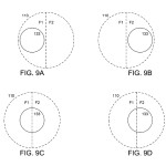 Fig. 9 from the patent application shows a two-filter module (big circles) in different positions relative to the detector subarray (small circle). (picture: Shroff & Berkner 2014)