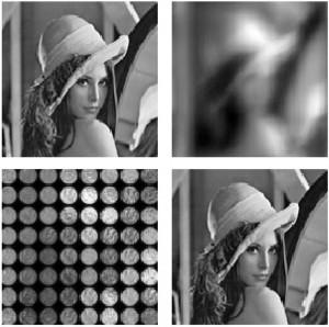 Abb 1. Wiederherstellung eines verschwommenen Bildes (simulierte Daten) durch Dekonvolution in Verbindung mit einem plenoptischen Wavefront-Sensor. Oben links: Originalbild. Oben rechts: Verschwommenes Bild. Unten links: Plenoptische Aufnahme. Unten rechts: Rekonstruiertes Bild. Die Simulation zeigt, dass es möglich ist, ein mit 512x512-Pixel-Sensor und 32x32 Mikrolinsen aufgenommenes Bild wiederherzustellen. (Bild: Rodriguez-Ramos et al., 2015)