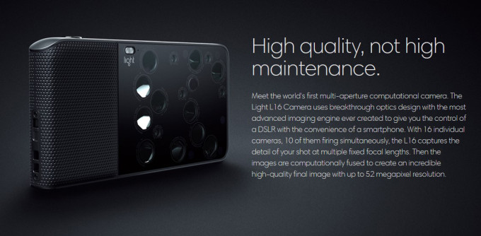 Light L16: Camera Startup announces multi-aperture computational camera with 16 camera modules