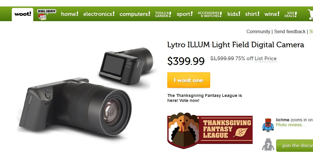 Special Offer: Lytro Illum for 400 US-Dollars at Woot
