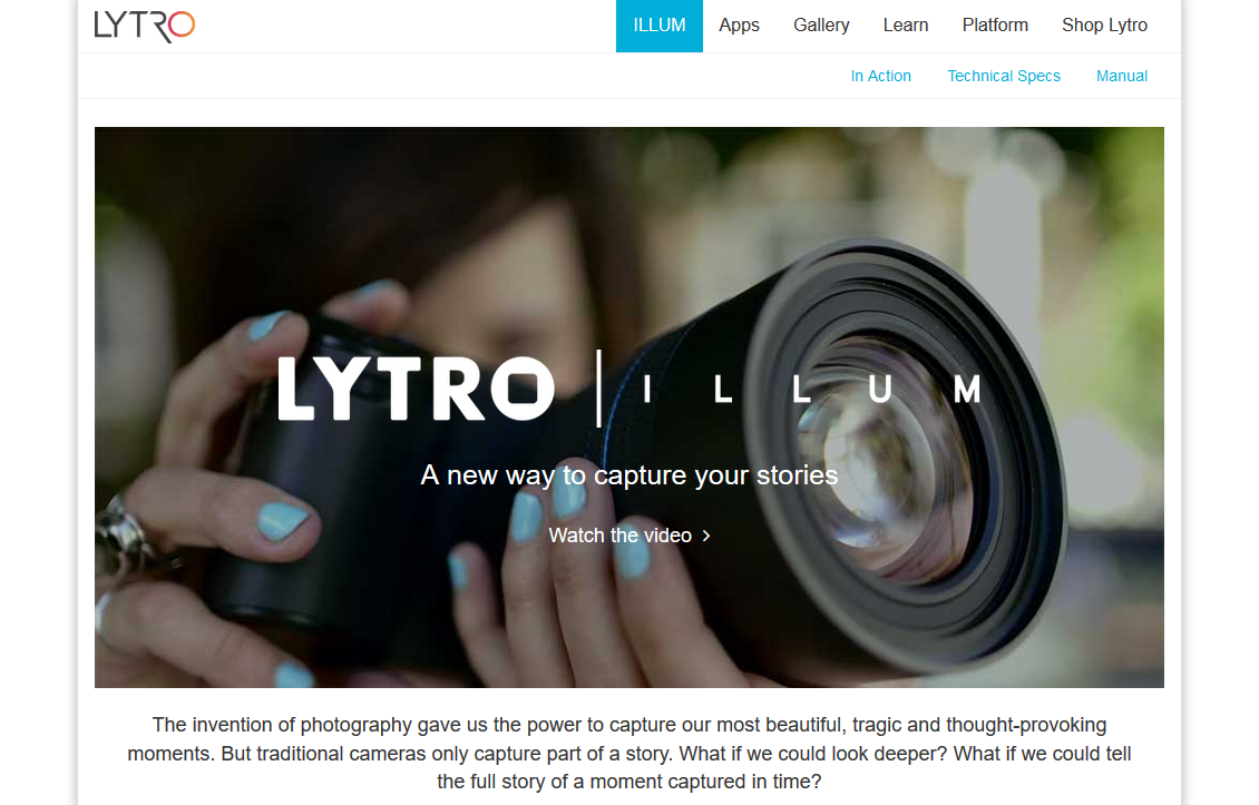 Lytro Illum: Official Product Information (Website Screenshot, 16.11.2017)